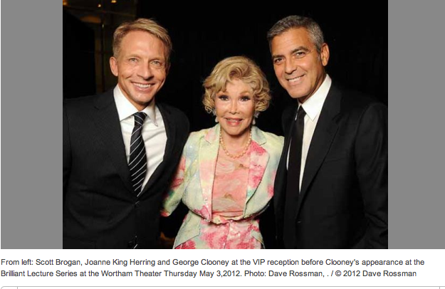 "The lady behind Charlie Wilson's war.  I have a feeling she is responsible for Clooney's choosing Houston for his only North American appearance regarding this subject.  She's now fighting ""George Clooney's War"" so to speak."